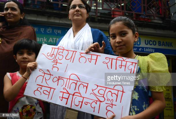Little girls take part in protest and chakkajam at BCS against rape and murder of teenage girl in Kotkhai on July 17 2017 in Shimla India Approx 99%...