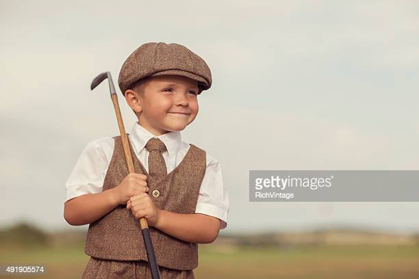 Little Golfing Boy in Vintage Attire