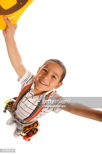little handyman - kids costume engineer stock photos and pictures