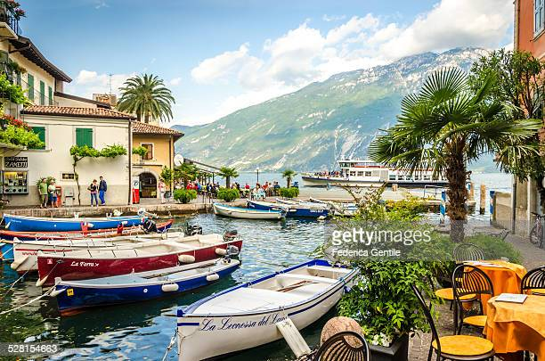 little harbour of limone sul garda - lake garda stock pictures, royalty-free photos & images