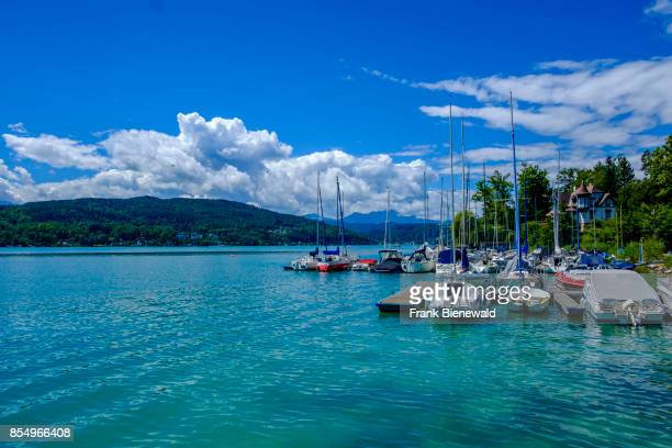 Little harbour with sailing boats at Lake Wörth, Wörthersee, Carinthia's largest lake.