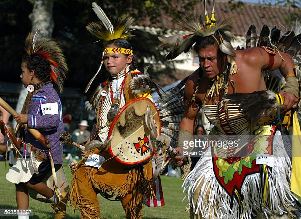 Little Hawk left Honovi Bear and Sam Bearpaw dance in the Intertribal Powwow sponsored by the Coastal Band of the Chumash California State University...