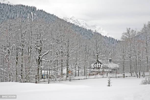 Little house covered with snow in forest surrounded by mountains, Bavaria, Germany