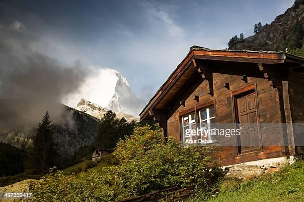 Little house made of wood in the Zermatt town with Matterhorn Switzerland road trip Europe