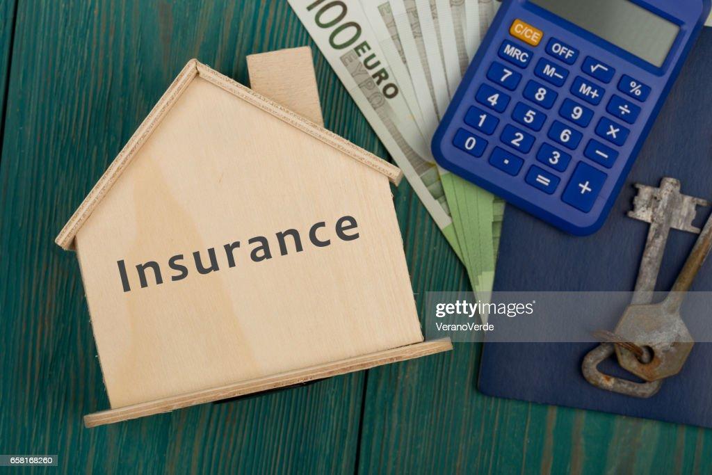 Little House With Text Insurance Keys Calculator Passport Money