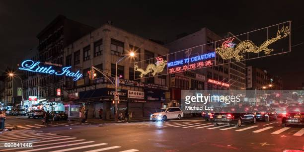 little italy and chinatown - new york - mulberry street stock pictures, royalty-free photos & images