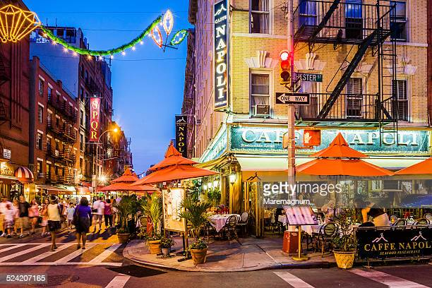 little italy, café restaurant in mulberry street - mulberry street stock pictures, royalty-free photos & images