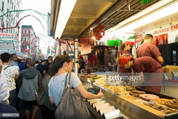 little italy feast of san gennaro festival in september nyc - mulberry street stock pictures, royalty-free photos & images