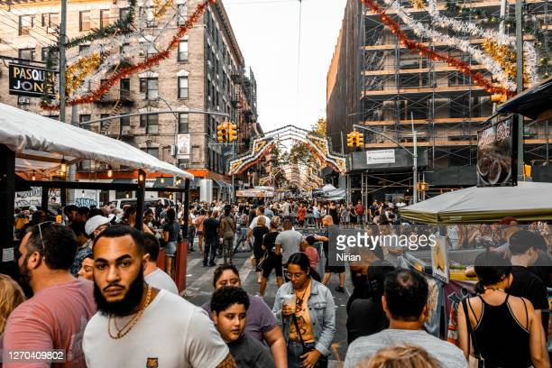 little italy feast of san gennaro festival - mulberry street stock pictures, royalty-free photos & images