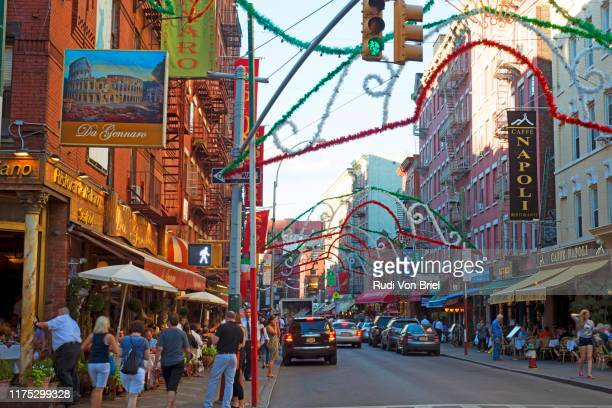 little italy, new york city, mulberry street. - mulberry street stock pictures, royalty-free photos & images