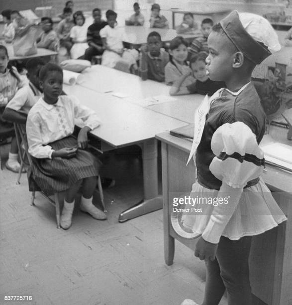 MAY 27 1962 'Little Jack Horner sat in a corner'Water Lewis of 2959 Steele St tells story behind his costume to third grade at school Credit Denver...