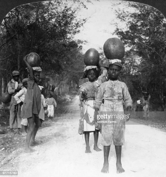 Little Jamaican water carriers near May Pen Jamaica