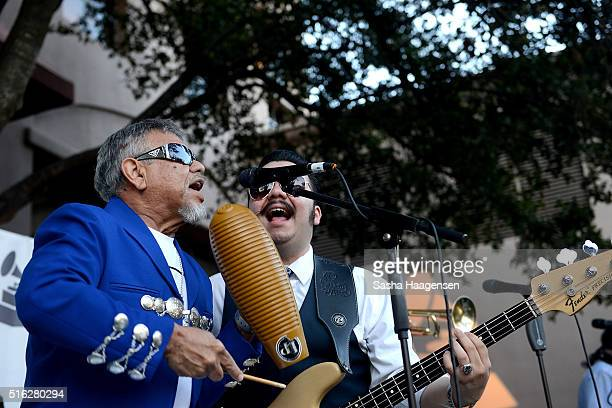 Little Joe y la Familia perform at the Grammy Block Party during SXSW Music Festival at Four Seasons Hotel on March 17 2016 in Austin Texas