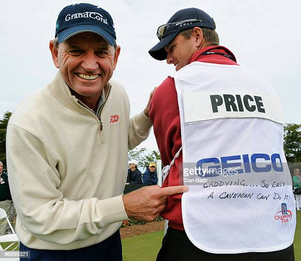 Little joking on the tee by Nick Price and his caddie Matt Minister by adding a comic comment on the caddie bib during the final round of The ACE...