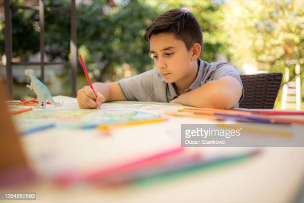 little kid drawing - dusan stankovic stock pictures, royalty-free photos & images