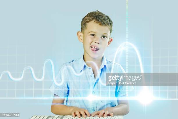 Little kid working on a blue, glowing virtual wave graph hologram