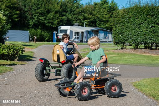 kart camping danmark Little Kids Racing On Pedal Gokarts In Camping Denmark Stock Photo  kart camping danmark