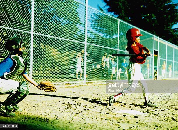 Little League Player Batting