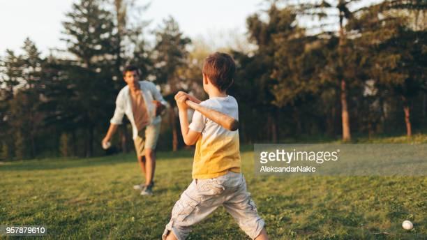 父と少しリーグ練習