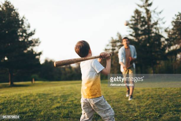 little league practice with my dad - batting sports activity stock pictures, royalty-free photos & images