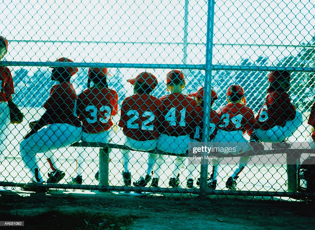 Little League Team in Dugout : Stock Photo