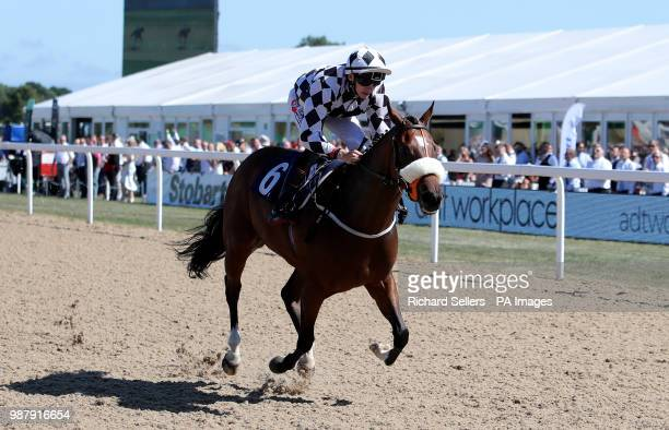 Little Legs ridden by Ben Robinson wins the ADT Workplace EBF Novice Stakes race during Northumberland Plate Day at Newcastle Racecourse