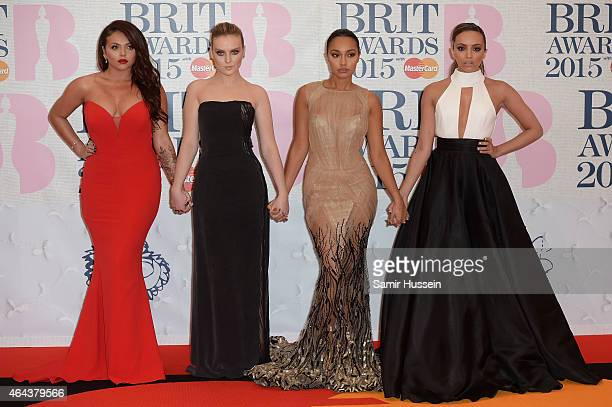 Little Mix attend the BRIT Awards 2015 at The O2 Arena on February 25 2015 in London England