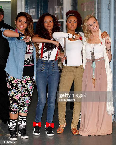 Little Mix from the X-Factor are seen leaving the ITV Studios on November 4, 2011 in London, England.