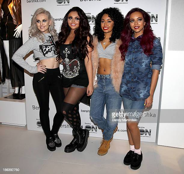 Little Mix members Perrie Edwards Jesy Nelson LeighAnne Pinnock and Jade Thirlwall attend the launch of the Bershka flagship store on November 14...