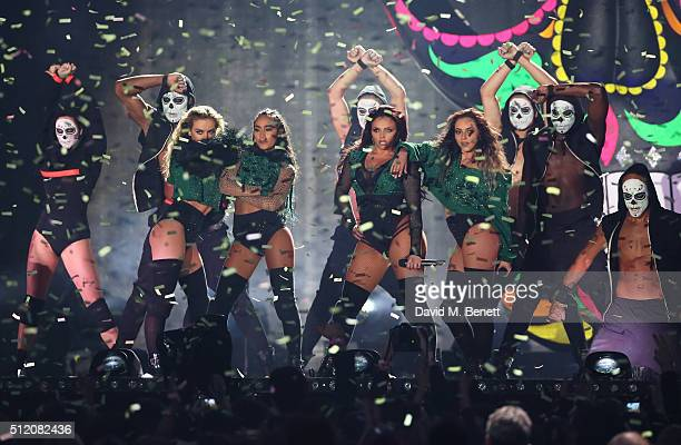 Little Mix perform at the BRIT Awards 2016 at The O2 Arena on February 24 2016 in London England