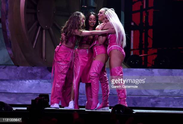 Little MIx perform during The BRIT Awards 2019 held at The O2 Arena on February 20, 2019 in London, England.