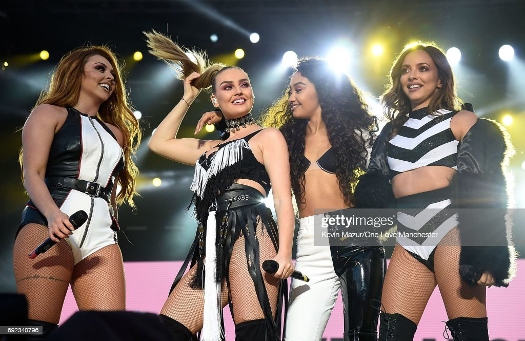 Little Mix perform on stage during the One Love Manchester Benefit Concert at Old Trafford Cricket Ground on June 4, 2017 in Manchester, England.