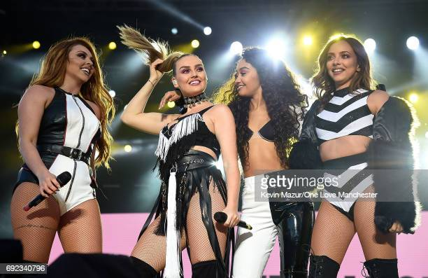 Little Mix perform on stage during the One Love Manchester Benefit Concert at Old Trafford Cricket Ground on June 4 2017 in Manchester England