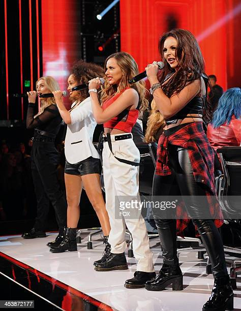 "Little Mix performs on FOX's ""The X Factor"" Season 3 Top 6 To 4 Live Elimination Show on December 5, 2013 in Hollywood, California."