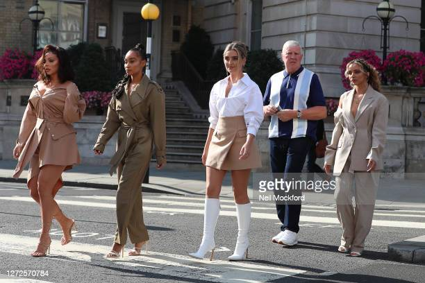 Little Mix seen leaving the Langham Hotel ahead of their performance of BBC Radio One Live Lounge on September 15, 2020 in London, England.