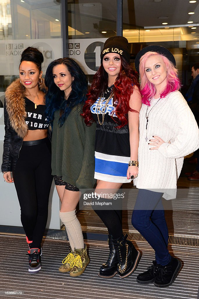 Little Mix sighted at BBC Radio One for Comic Relief on March 14, 2013 in London, England.