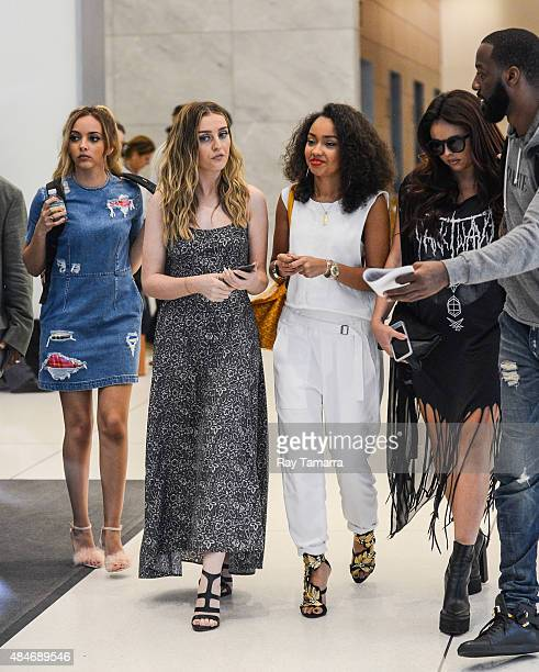 Little Mix singers Jade Thirlwall Perrie Edwards LeighAnne Pinnock and Jesy Nelson leave the Sirius XM Studios on August 20 2015 in New York City