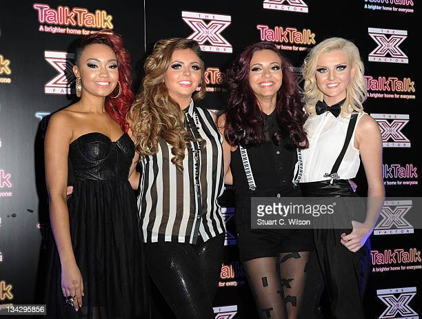 Little Mix - X Factor Semi-finalists, ahead of their performance at Talk Talk Store, Soho on November 30, 2011 in London, England.