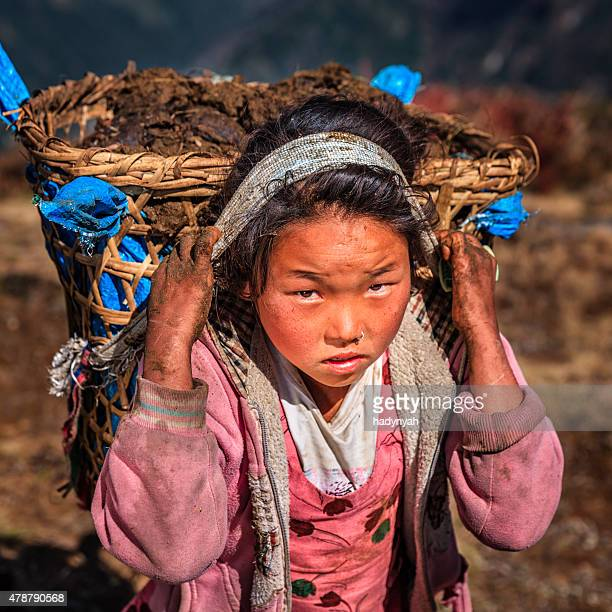 Little Nepali girl carrying around 40kg yak's dung