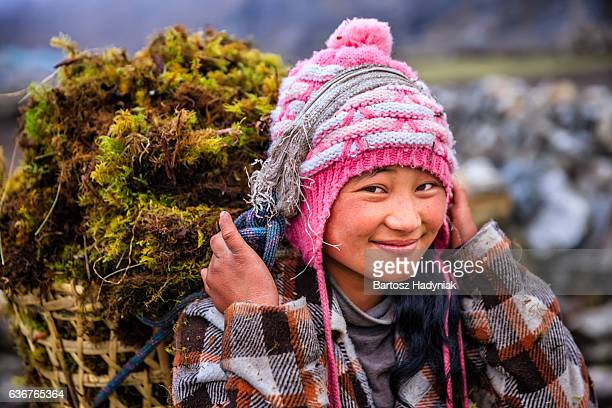 little nepali girl carrying basket full of moss - nepal stock pictures, royalty-free photos & images
