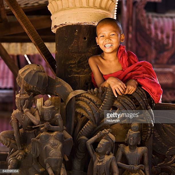 Little novice Buddhist monk in temple near Bagan, Myanmar