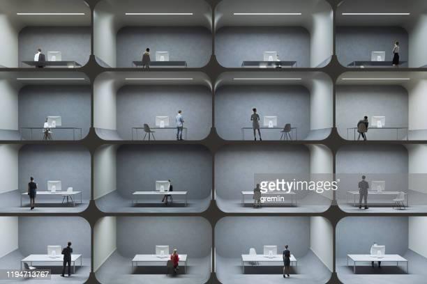 petites cellules de prison de cabine de bureau - confinement photos et images de collection