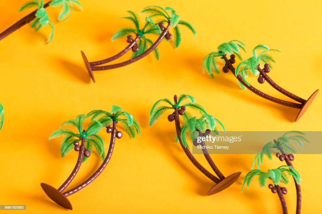 little palm trees on a yellow background ストックフォト getty images