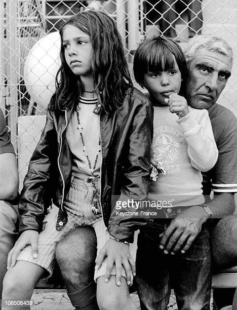 "Little Paul And Florence With Actor-Director Friend Of Jean-Paul Belmondo, Near The Football Ground On Which His Father'S Playing With ""Polymusclee""."