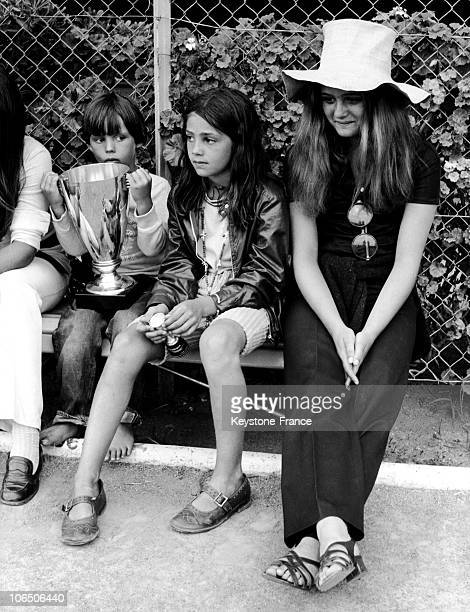 Little Paul, Florence And Patricia, Jean-Paul Belmondo And Elodie Constantin'S Children Near The Football Ground On Which His Father'S Playing With...
