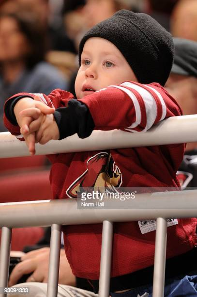 A little Phoenix Coyotes fan watches a game against the Dallas Stars from the first row on November 14 2009 at Jobingcom Arena in Glendale Arizona