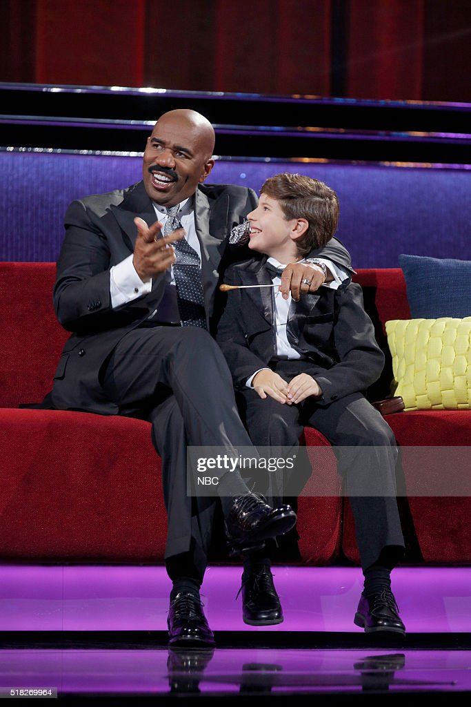 SHOTS -- 'Little Piano Man' Episode 107 -- Pictured: (l-r) Steve Harvey, Jonathan Okseniuk --