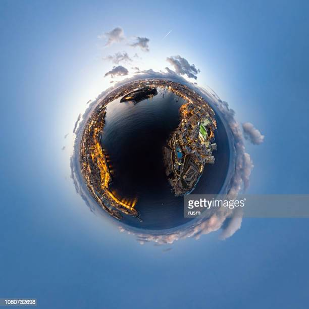 little planet aerial panorama of valletta old town and sliema resort at sunset, malta - little planet format stock photos and pictures