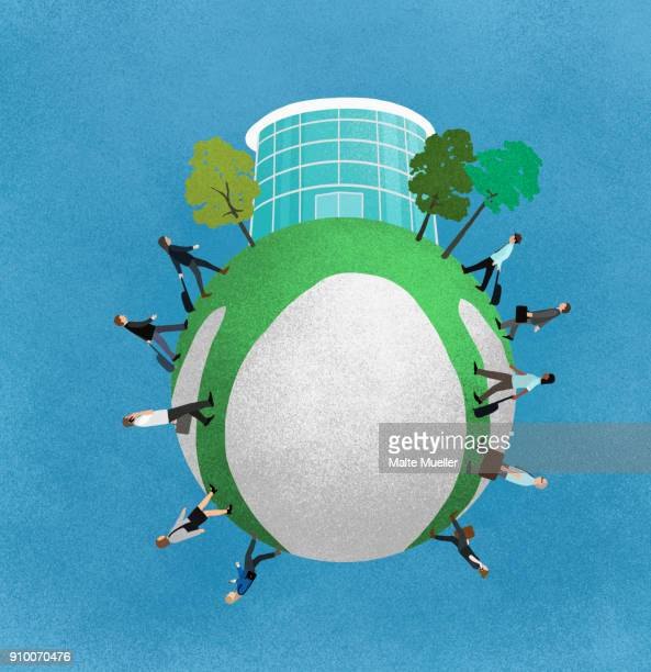 Little planet effect of business people walking towards office building