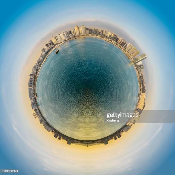 little planet effect - fish eye foto e immagini stock